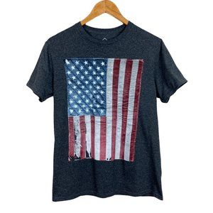 Well Worn Flag Tee Gray Vintage Distressed Graphic